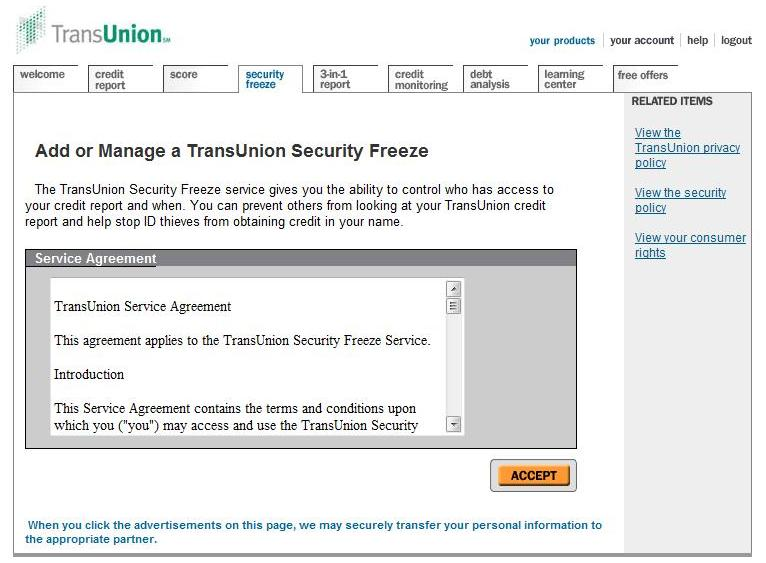 how to cancel transunion acount online